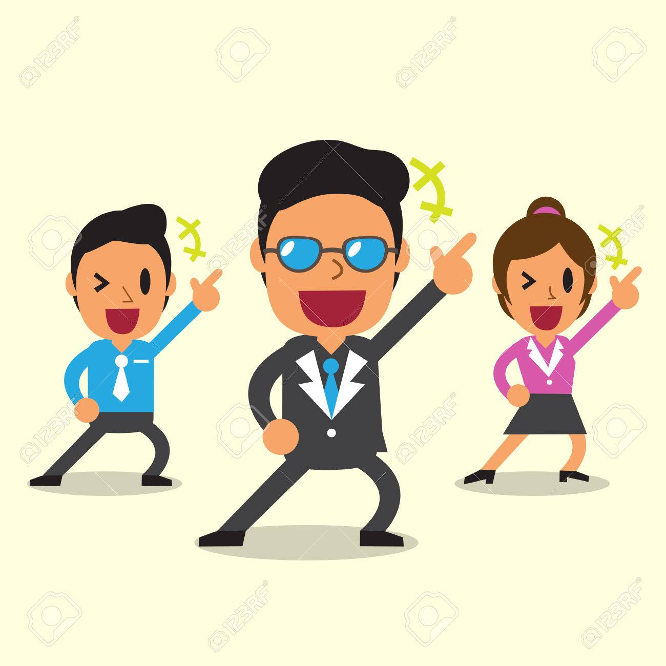 Cartoon happy business team with yellow background - 44830859