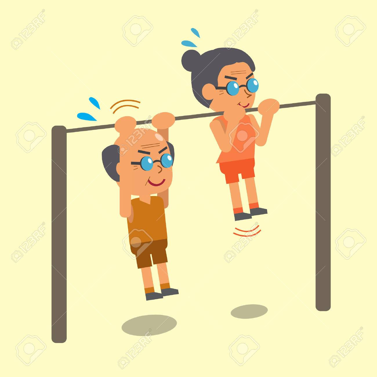 Cartoon old man and old woman doing chin ups exercise together - 44858880