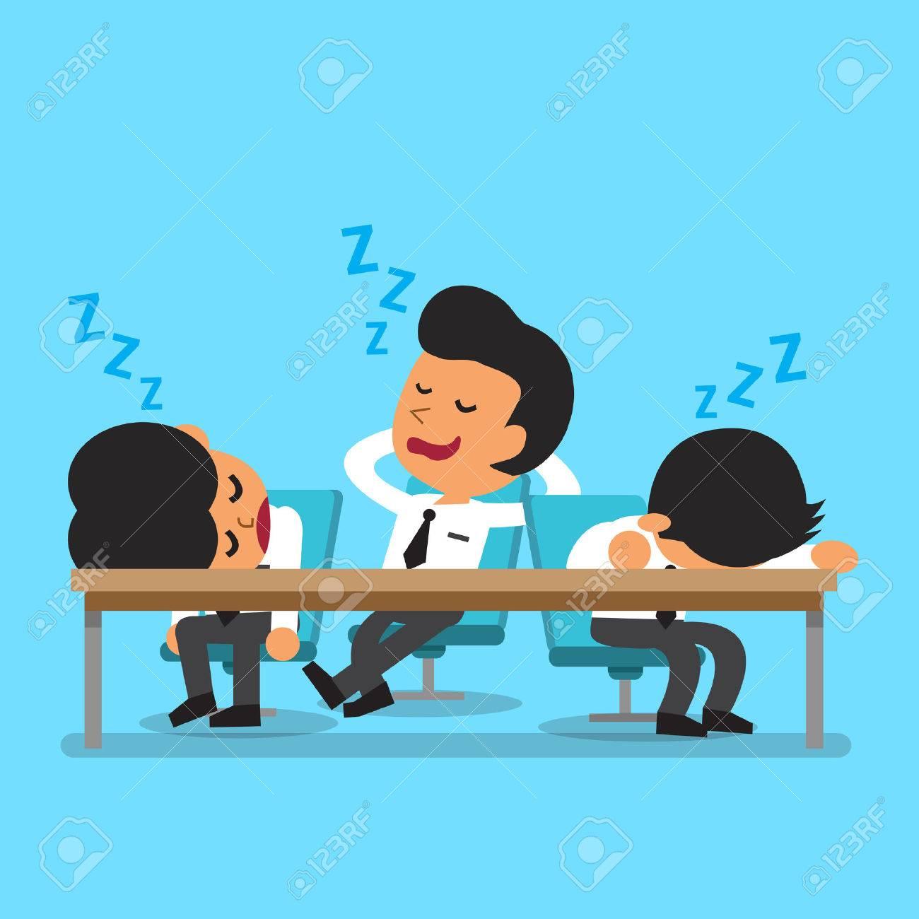Cartoon business team falling asleep - 45667294