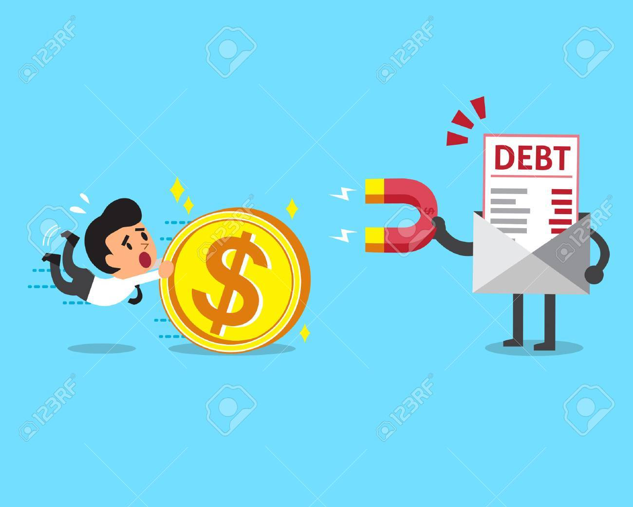 Business concept debt letter using a magnet to attracts money from a businessman - 46350944