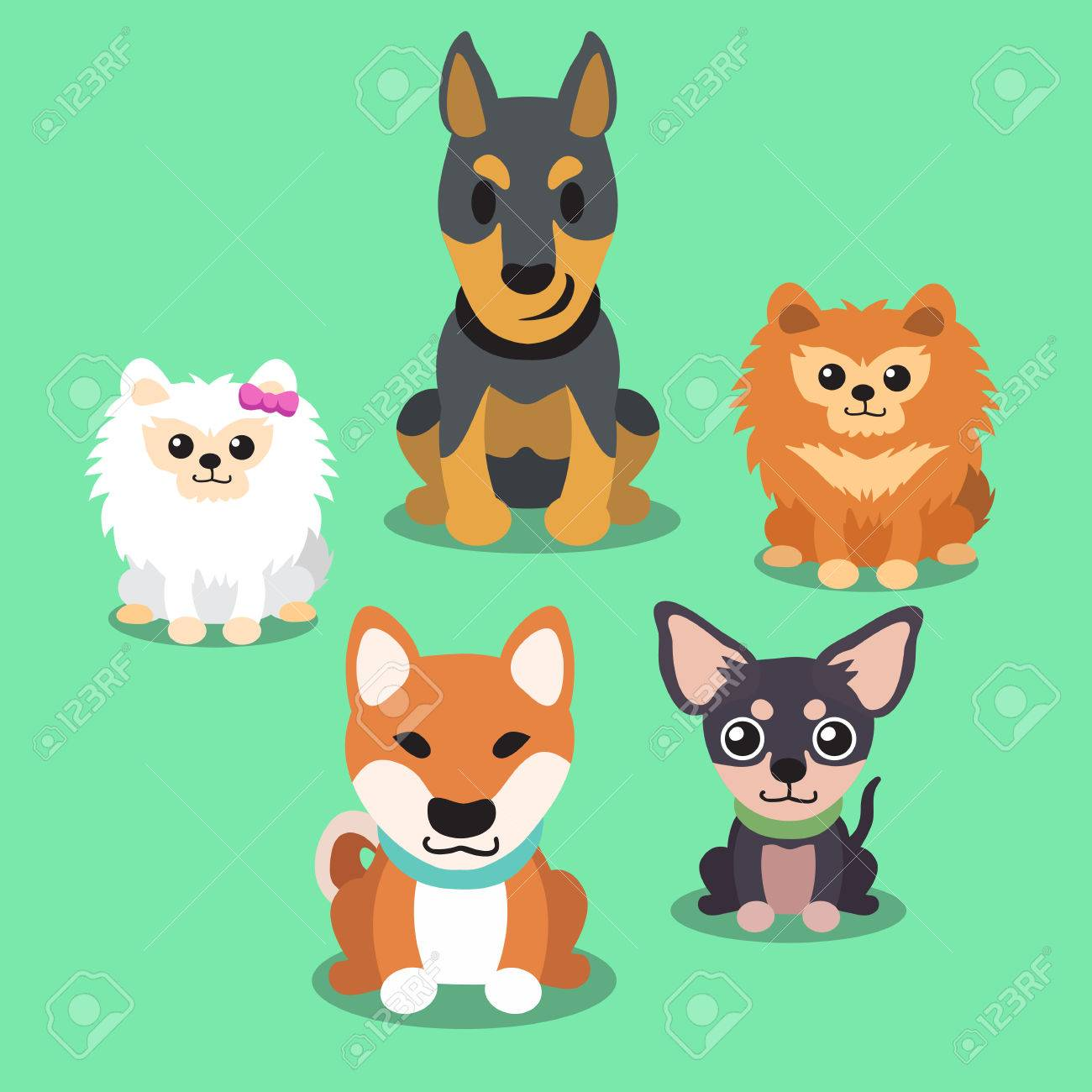 Cartoon dogs standing collection - 47275168