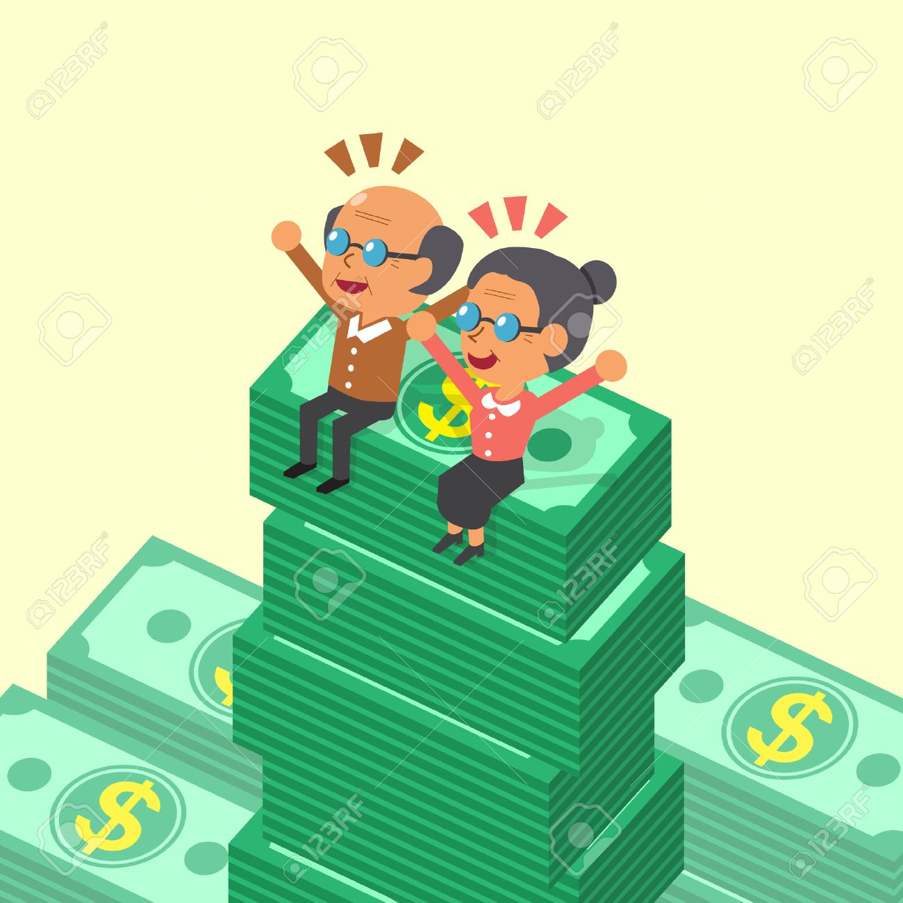 Cartoon old man and old woman sitting on money stacks - 47825352
