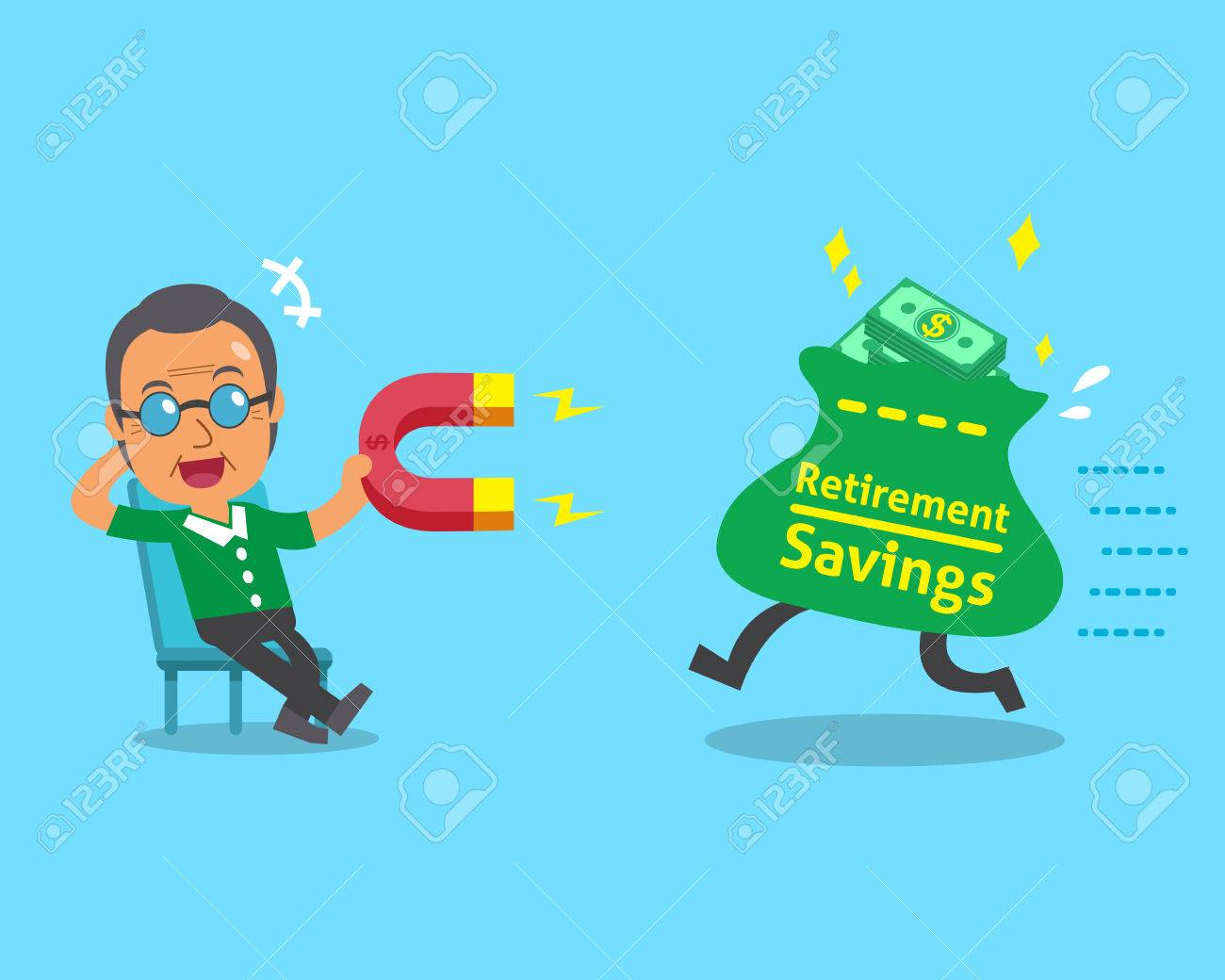 Cartoon old man using a magnet to attracts retirement savings bag - 47825766