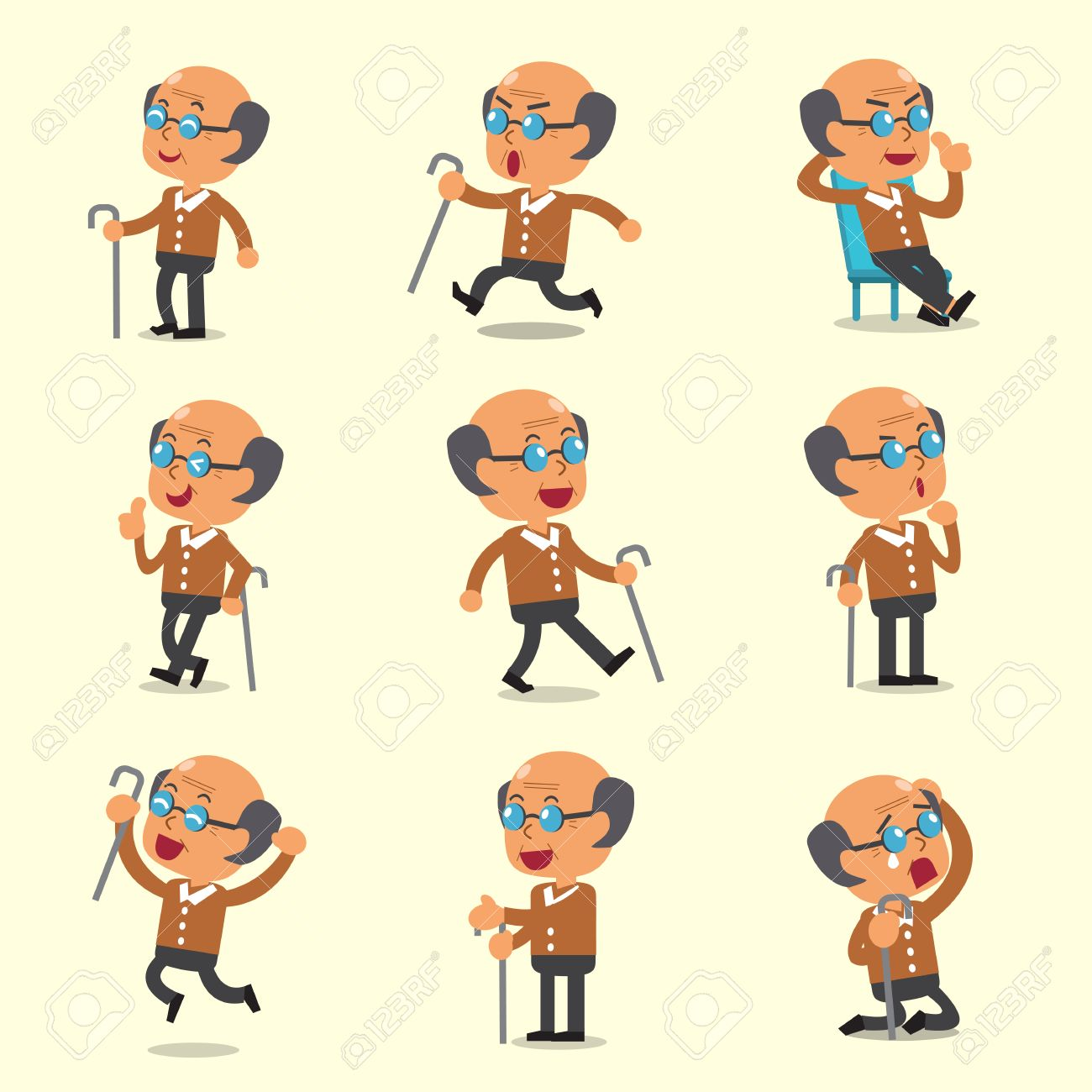 cartoon old man character poses on yellow background royalty free
