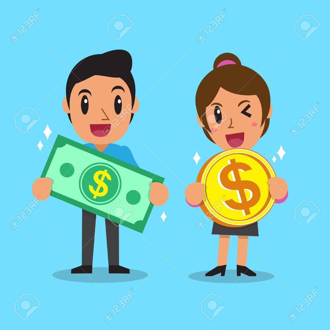 Cartoon business people holding money - 48757769
