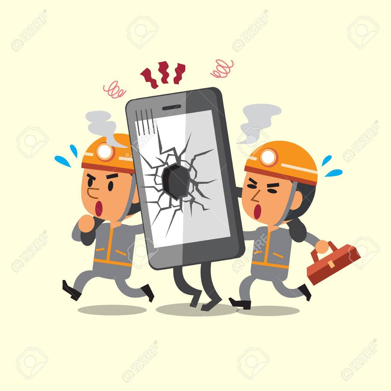 Cartoon technicians helping broken smartphone - 48757771