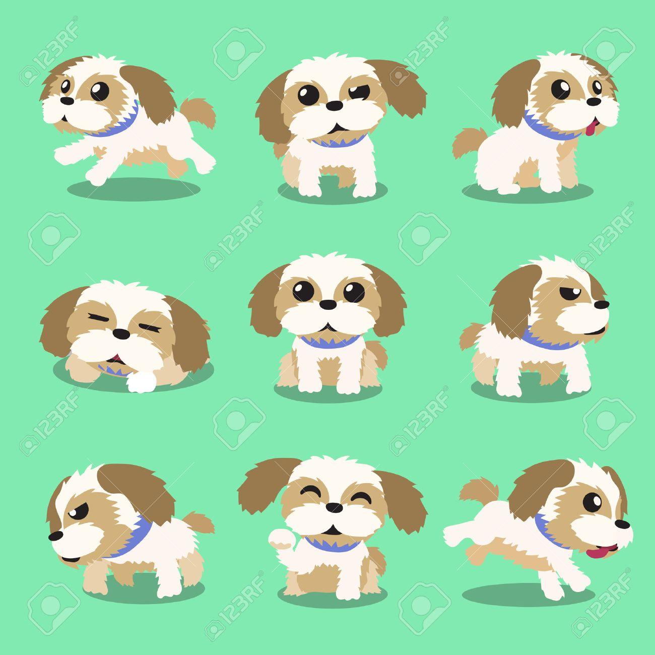 Cartoon Character Shih Tzu Dog Poses Royalty Free Cliparts Vectors