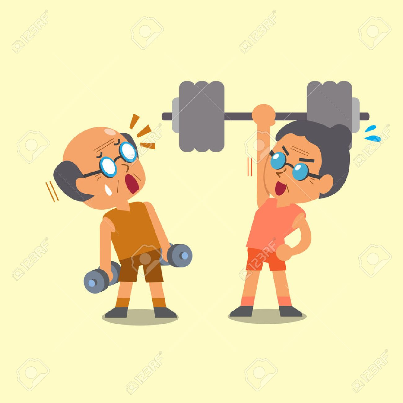 Cartoon old man and old woman doing weight training - 48757967