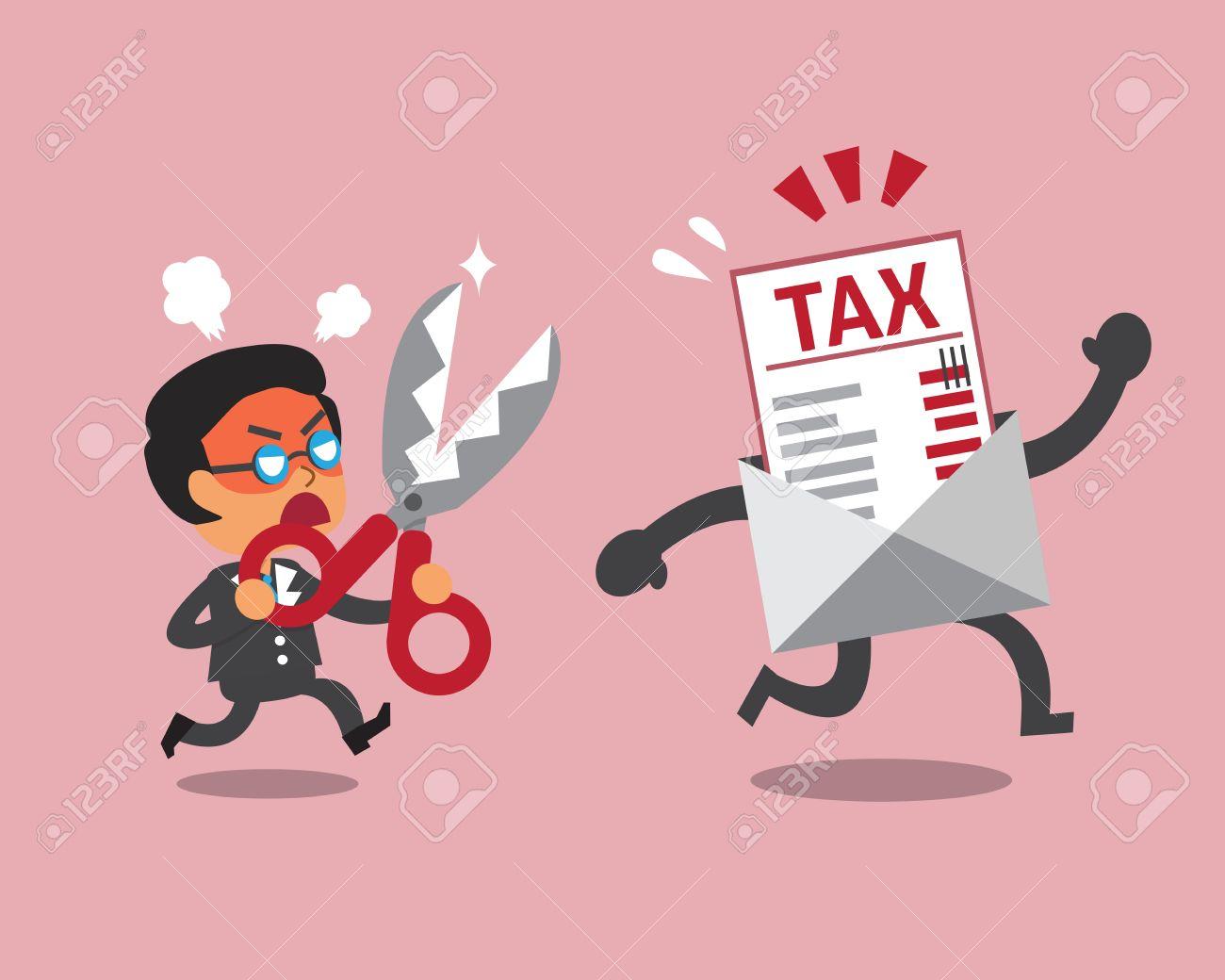 Cartoon businessman holding scissors to cut tax letter - 49126137