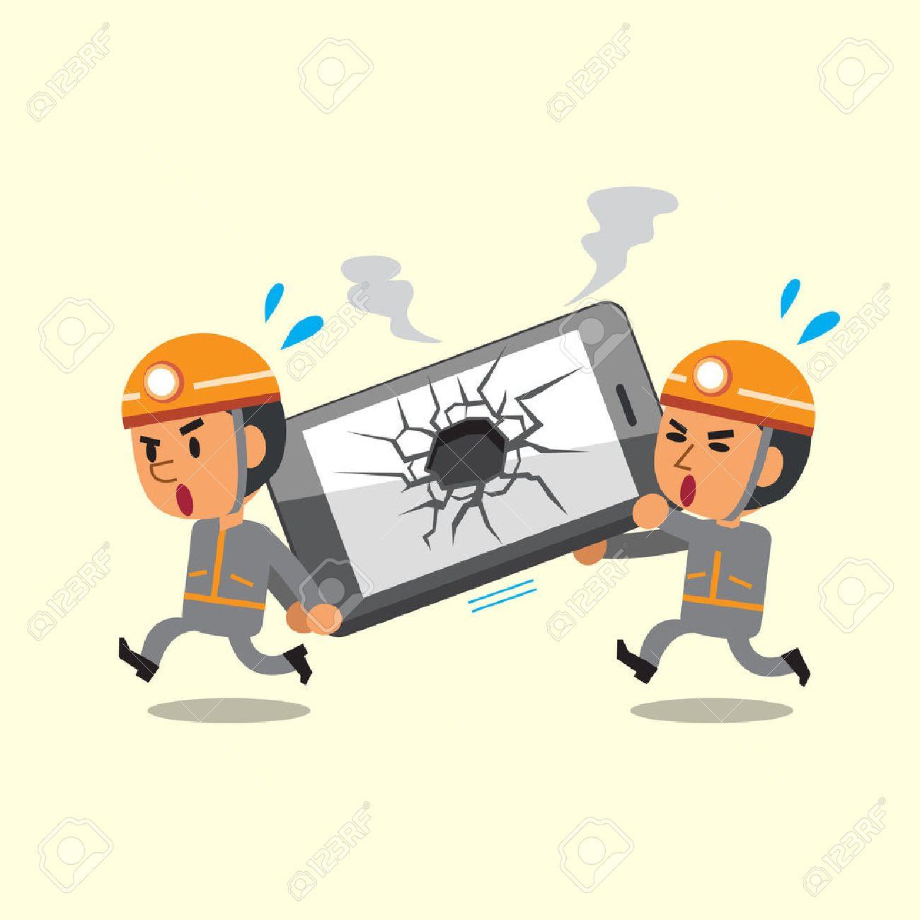Cartoon technicians helping broken smartphone - 49066307