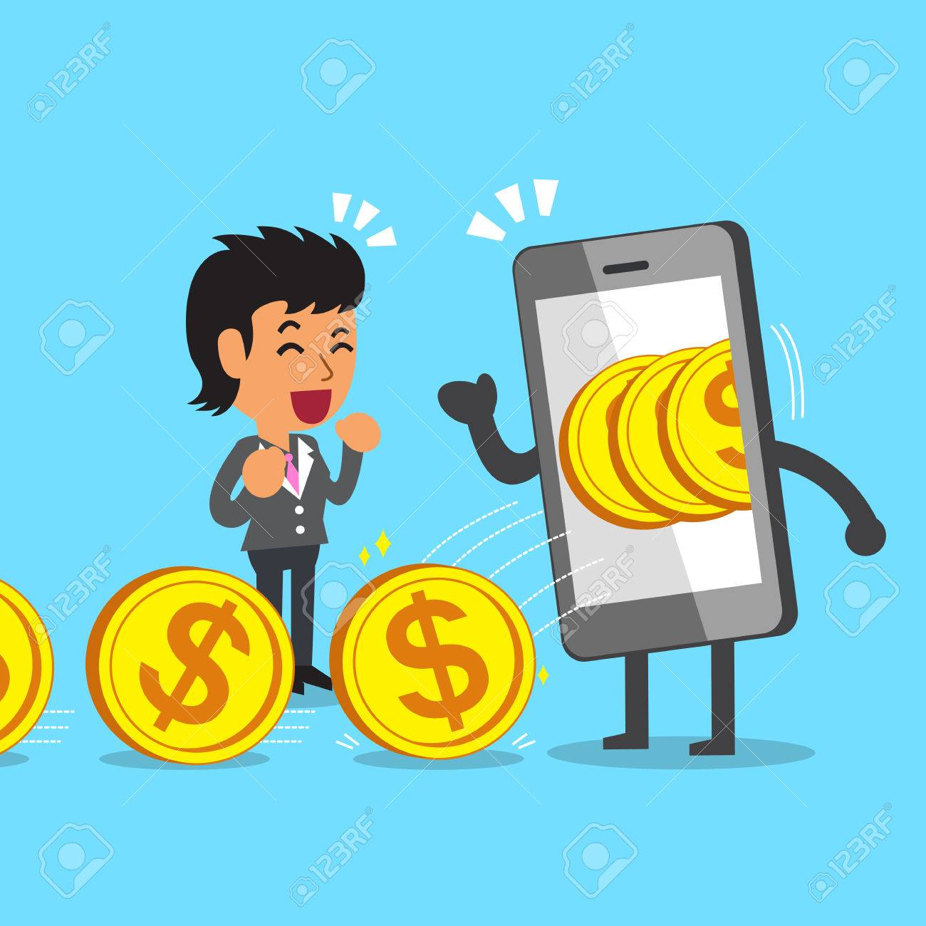 Cartoon Businesswoman Earning Money With Smartphone Royalty Free ...