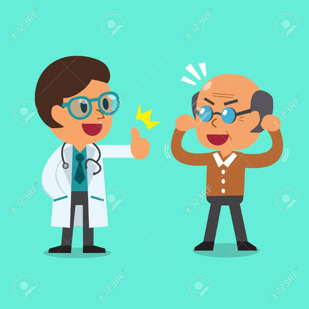Cartoon doctor and old man - 49830218