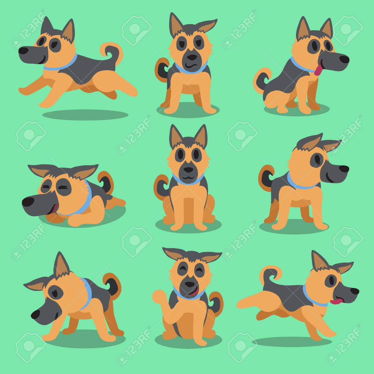 Cartoon Character German Shepherd Dog Poses Royalty Free Cliparts