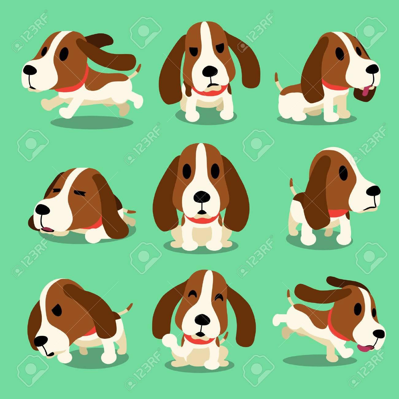 Cartoon character hound dog poses - 50952670
