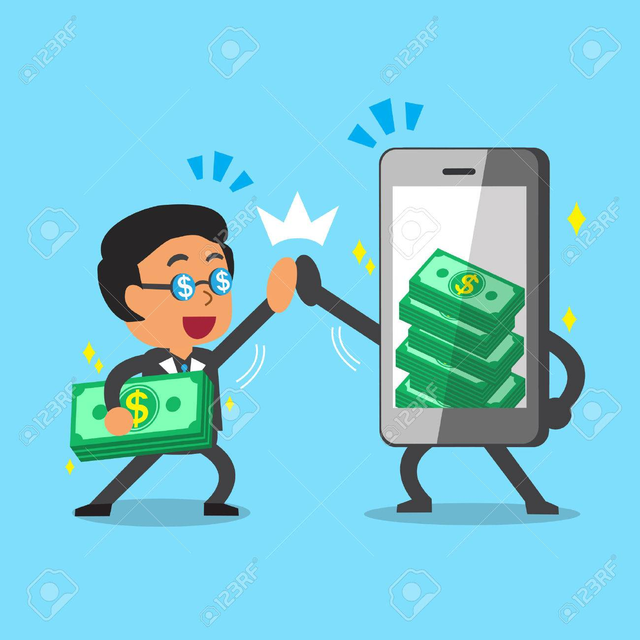Cartoon Businessman And Smartphone Earning Money Royalty Free ...
