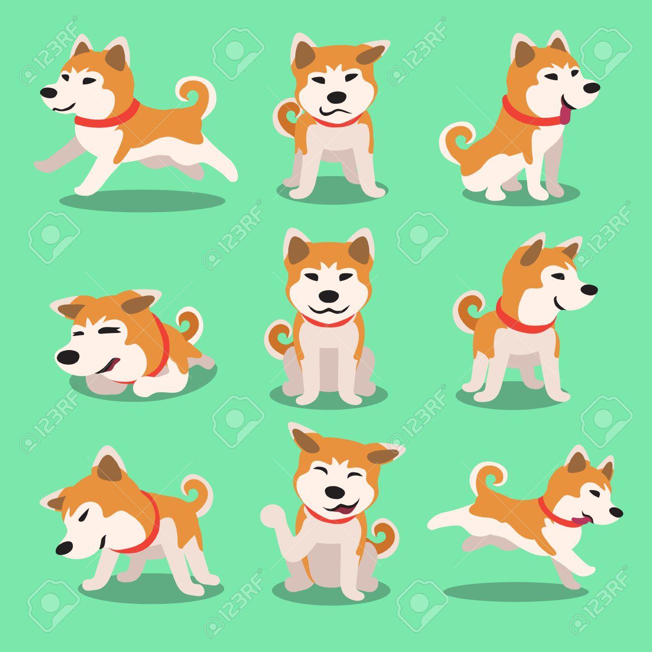 Cartoon character akita inu dog poses - 51904651
