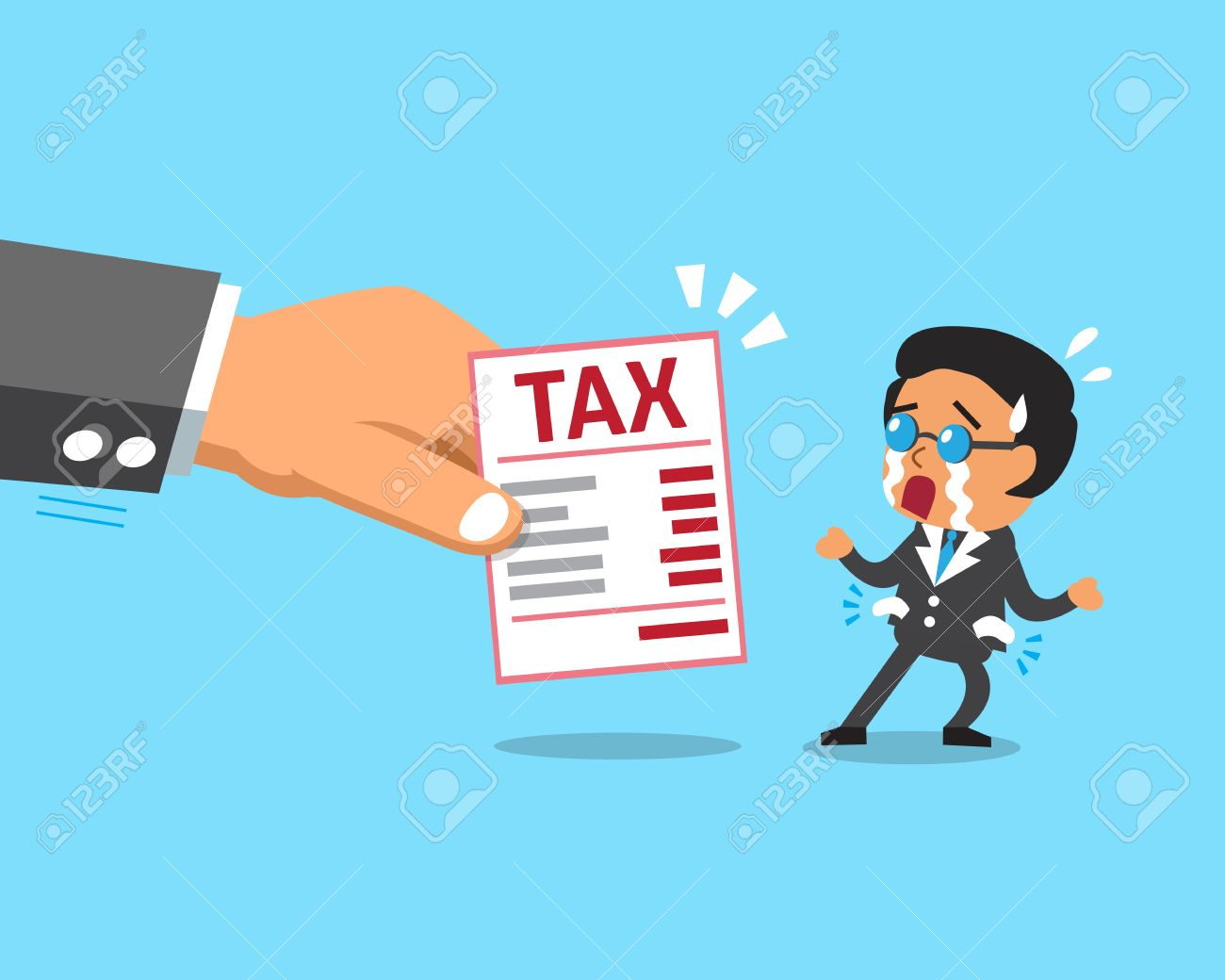 cartoon businessman does not have money to pay tax royalty free