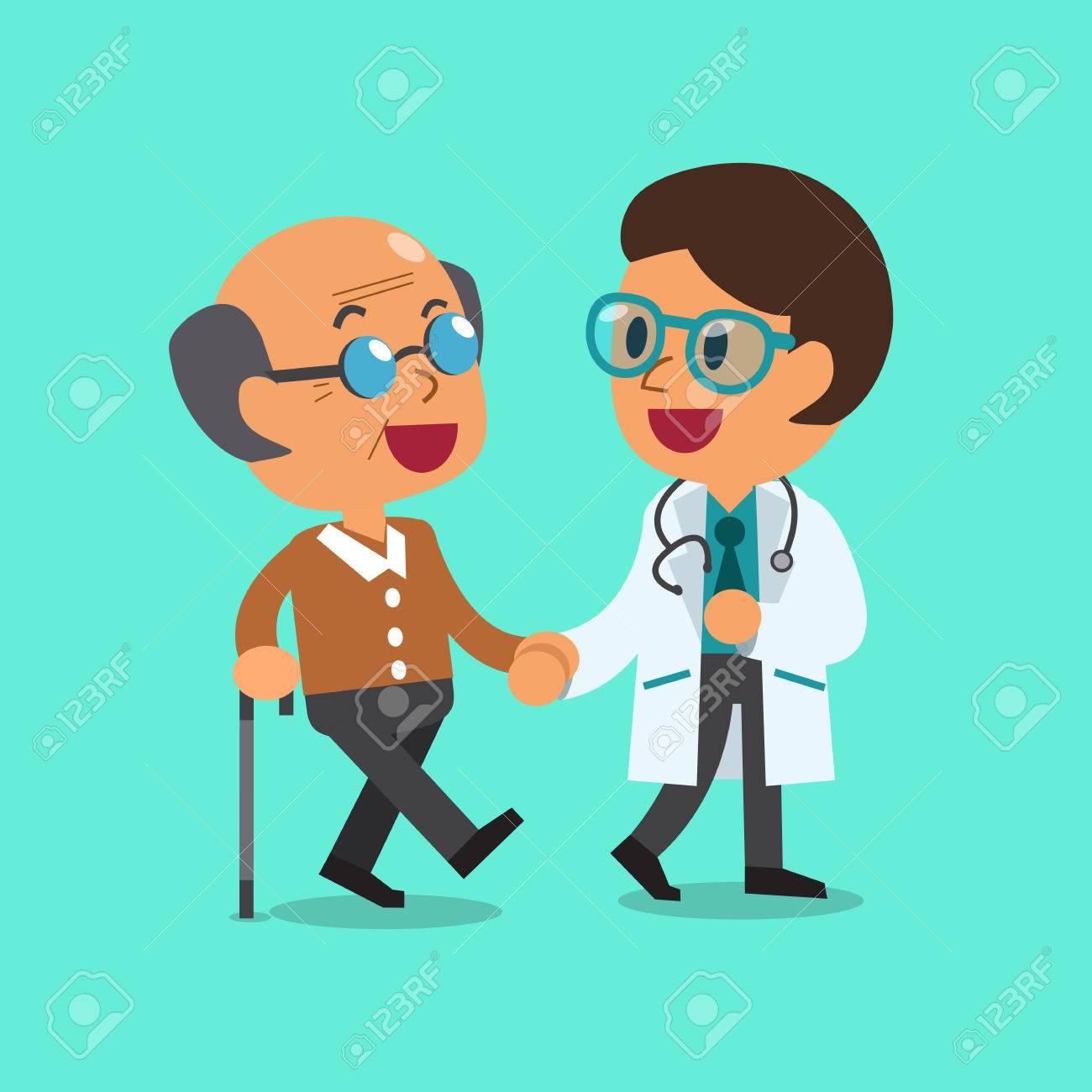 Cartoon doctor helping old man to walk - 53668567
