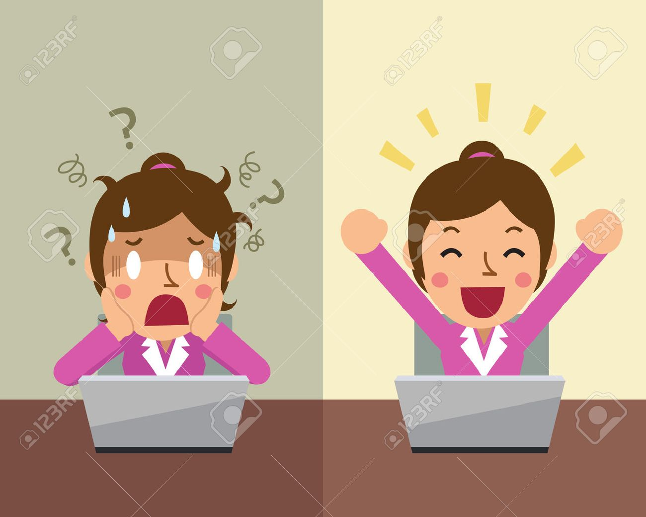 Cartoon businesswoman expressing different emotions - 53668717