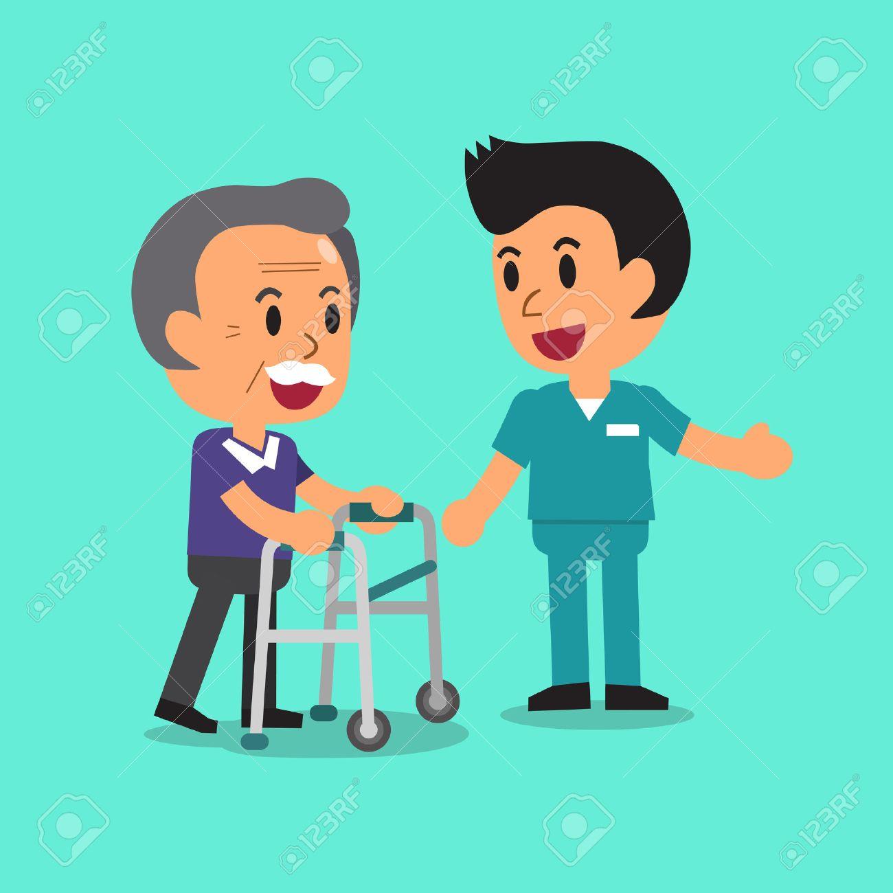 Cartoon senior man walking with paddle walker and male nurse - 53668731