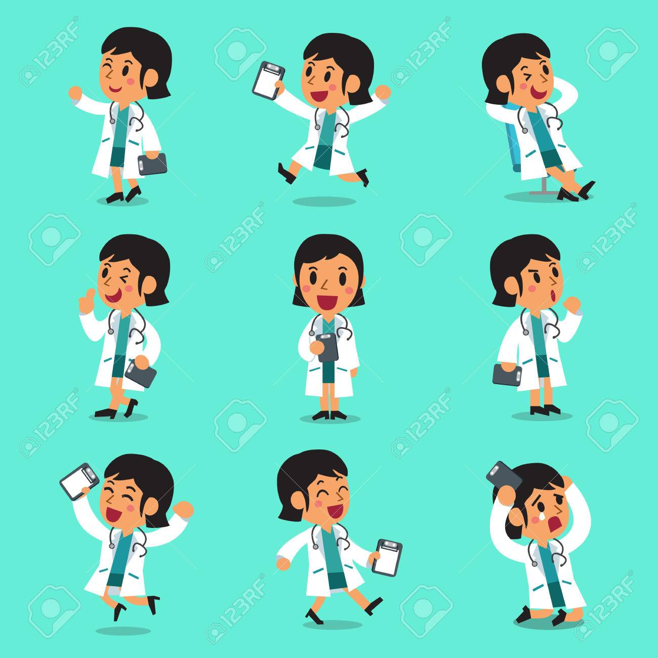 Cartoon female doctor character poses - 53668730