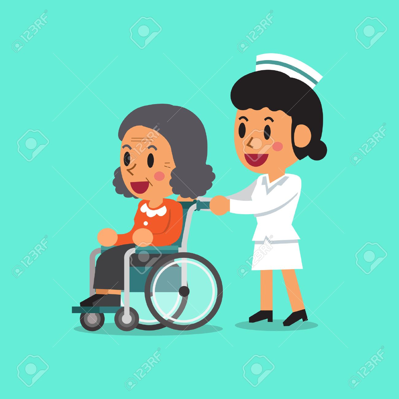 Cartoon physical therapy - Physical Therapy Nurse Cartoon Senior Woman In Wheelchair With Nurse