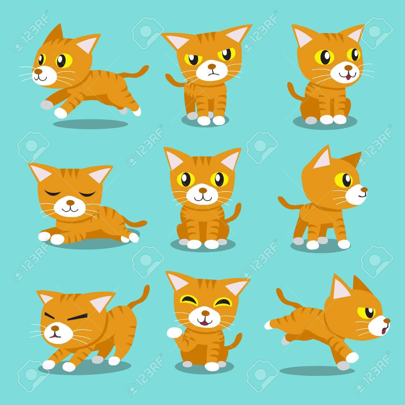 Cartoon character orange cat poses - 53668839