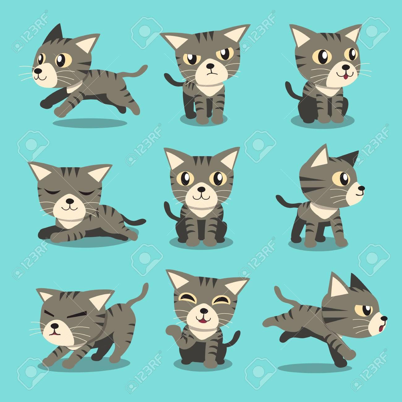 Cartoon character grey tabby cat poses - 53668841