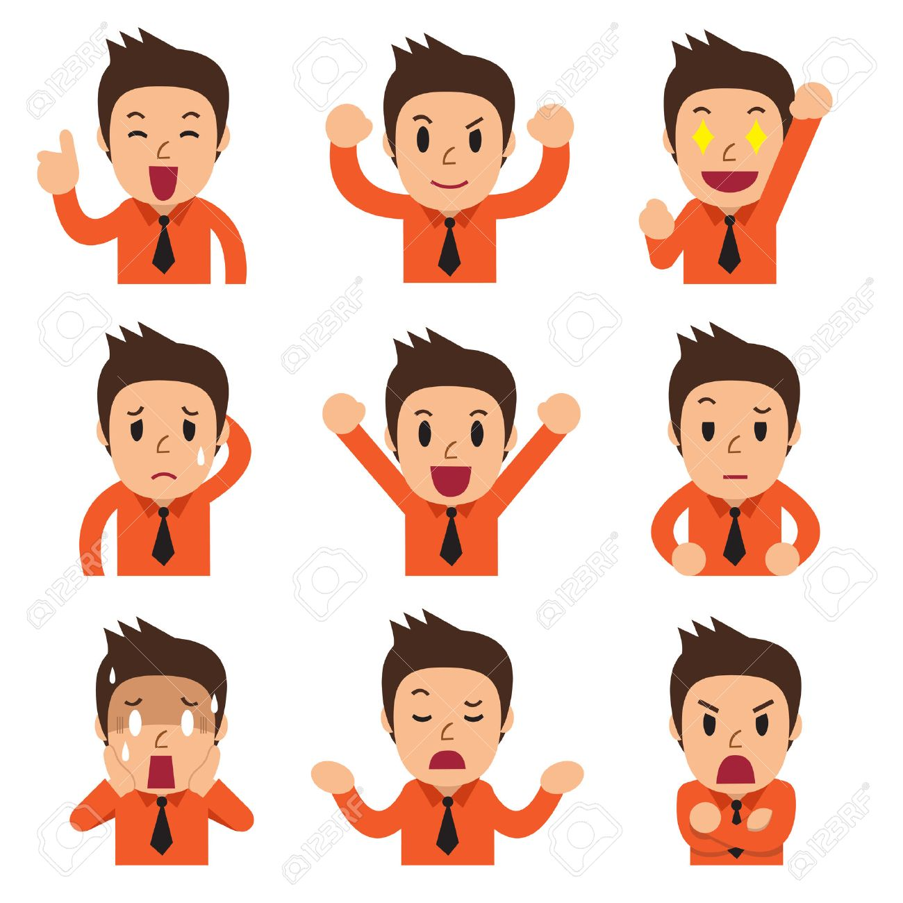 Cartoon businessman faces showing different emotions - 54640277