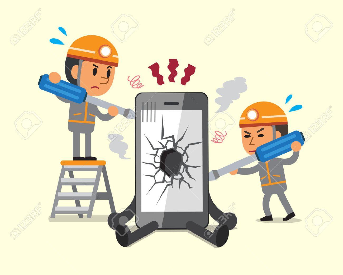 Cartoon technicians repairing smartphone broken smartphone - 54640665