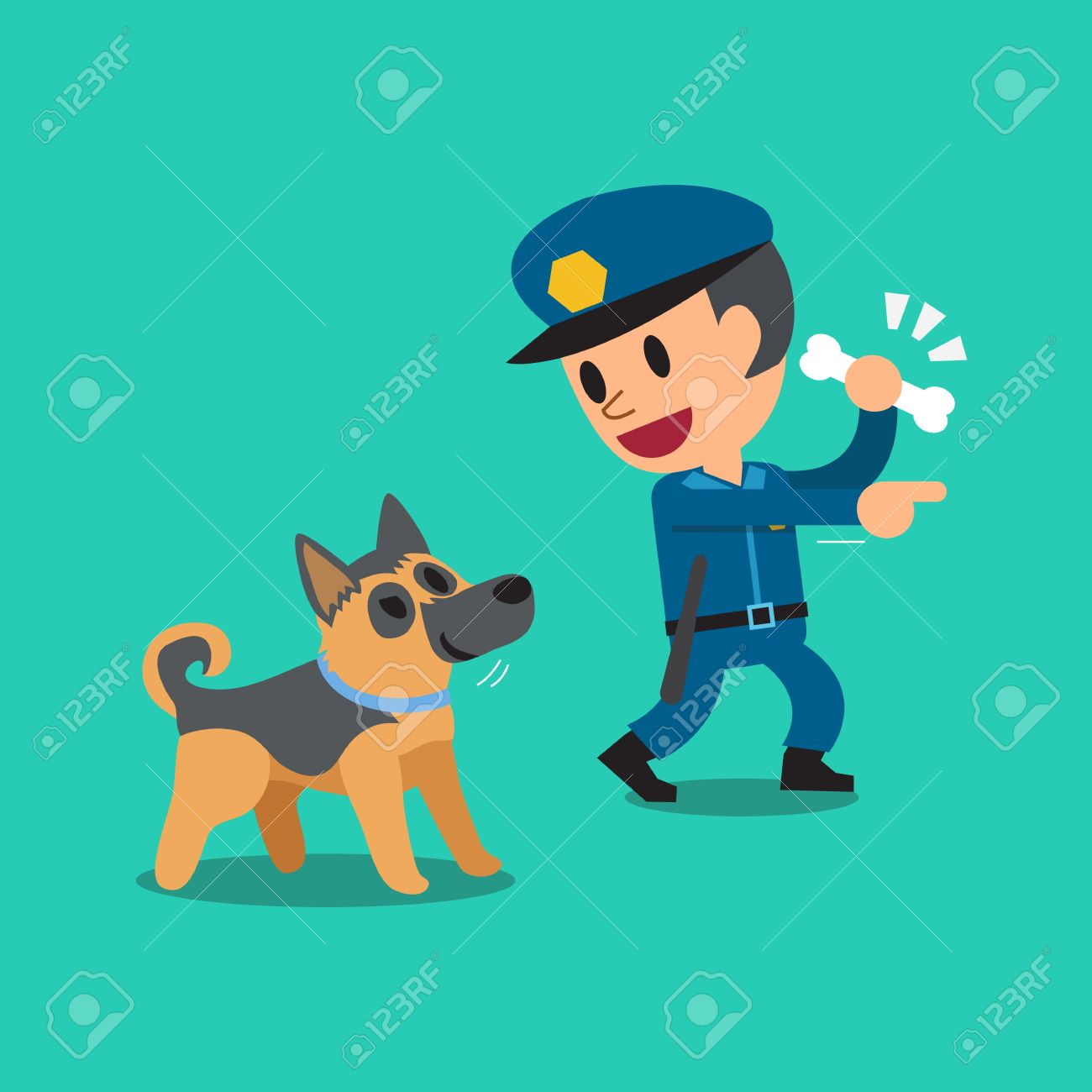 cartoon security guard policeman and police guard dog royalty free