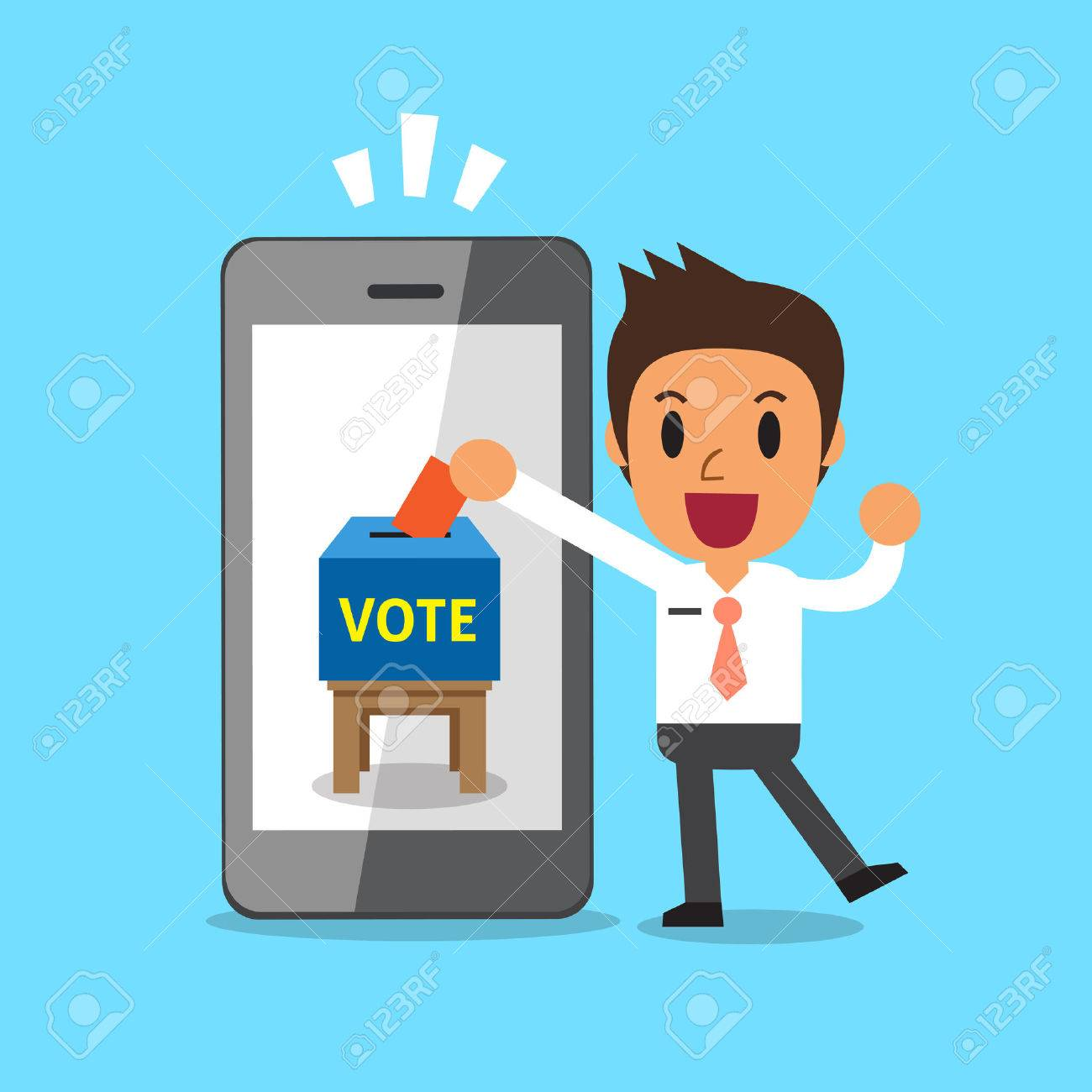 Businessman putting voting paper in smartphone - 62598857