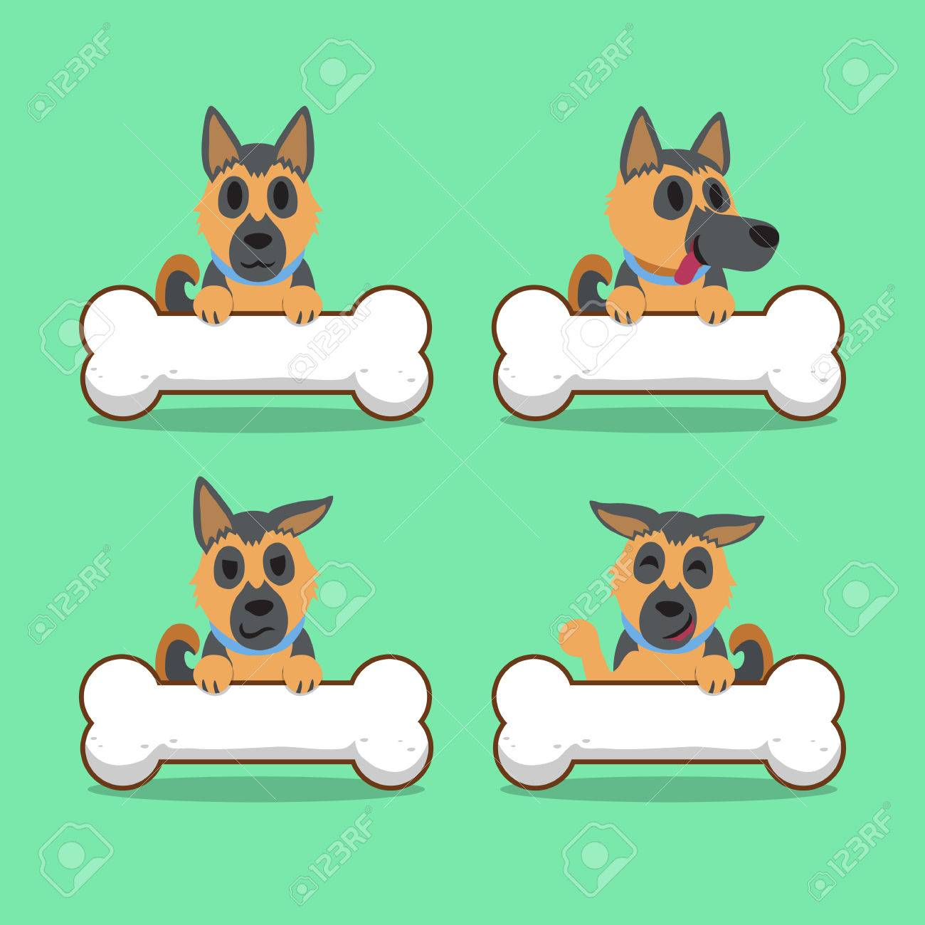 Cartoon Character German Shepherd Dog With Big Bones Royalty Free