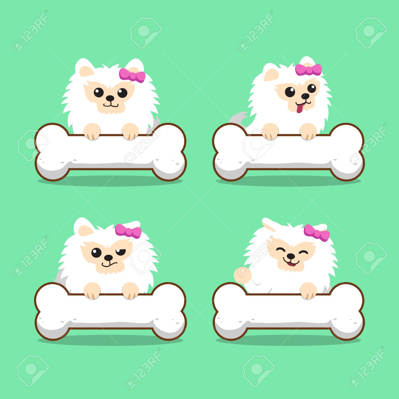 Cartoon Character White Pomeranian Dog With Big Bones Royalty Free Cliparts Vectors And Stock Illustration Image 63016606