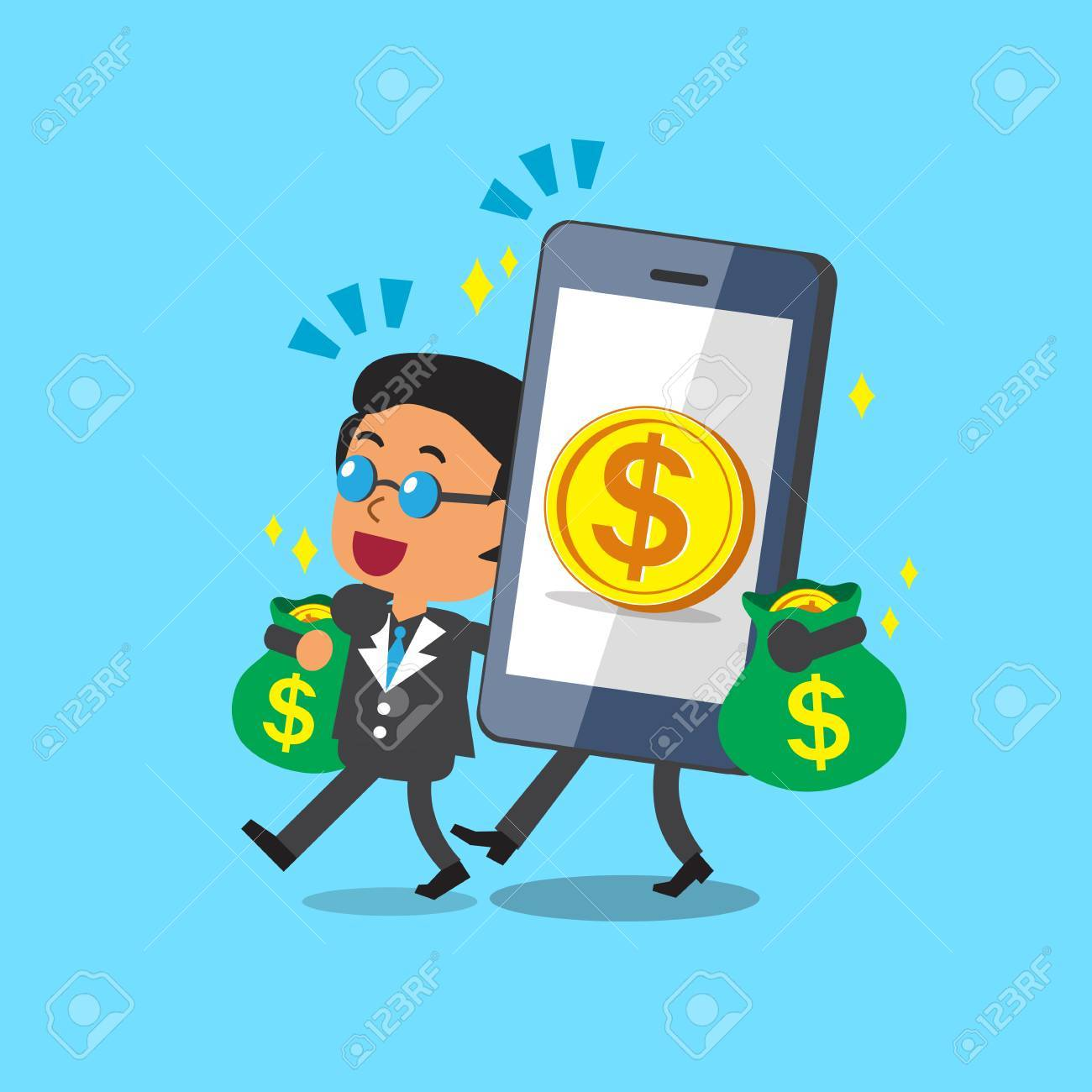 Cartoon Smartphone Help Business Boss To Earn Money Royalty Free ...