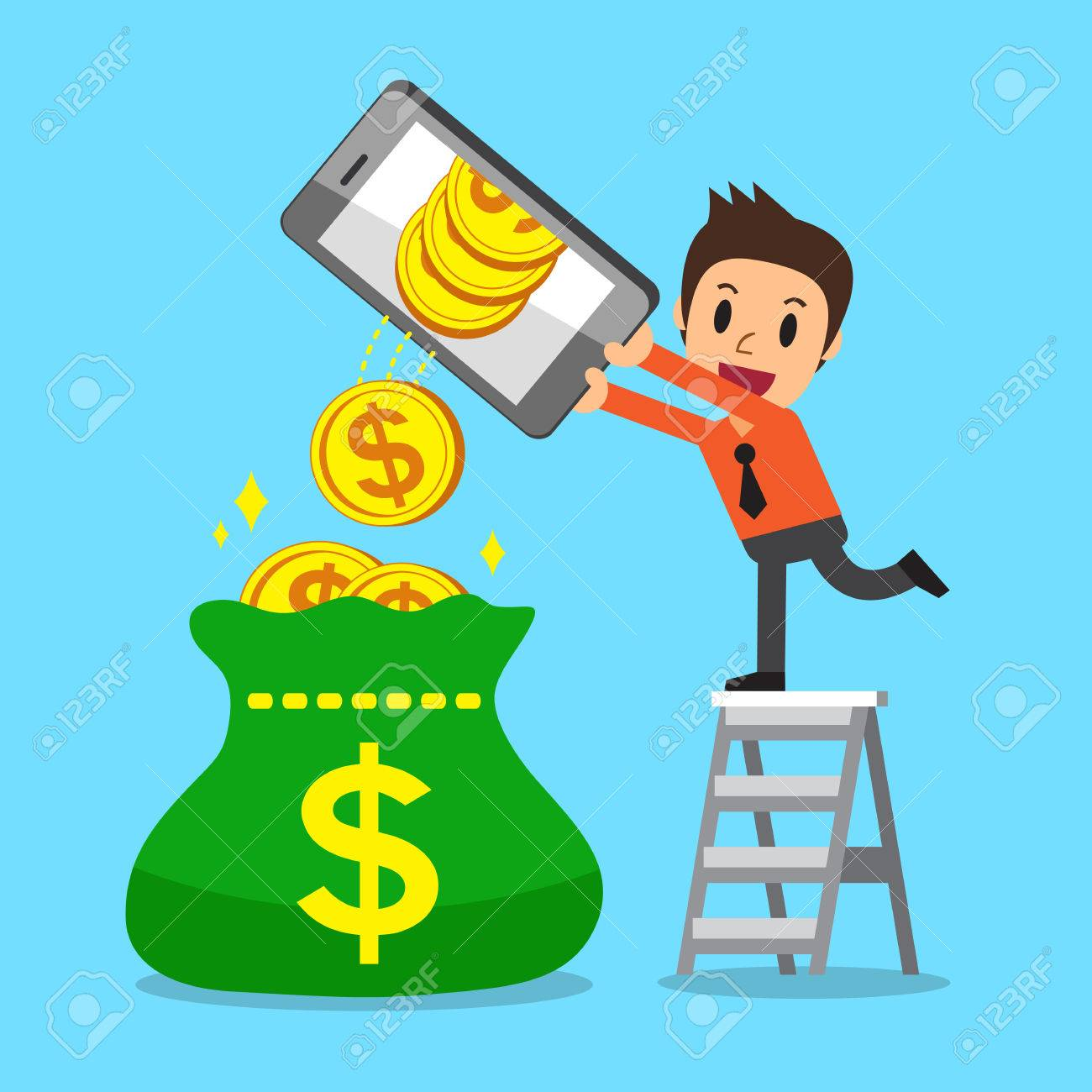 Cartoon A Businessman Using Smartphone To Earn Money Royalty Free ...