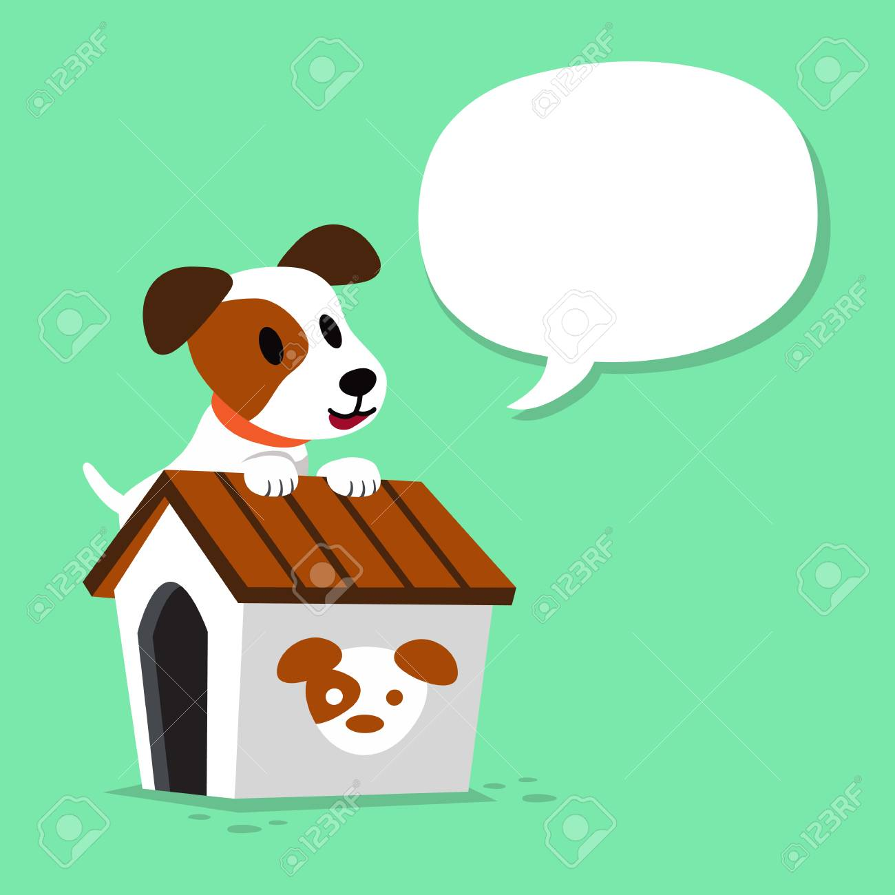 Cartoon character jack russell terrier dog and kennel with speech