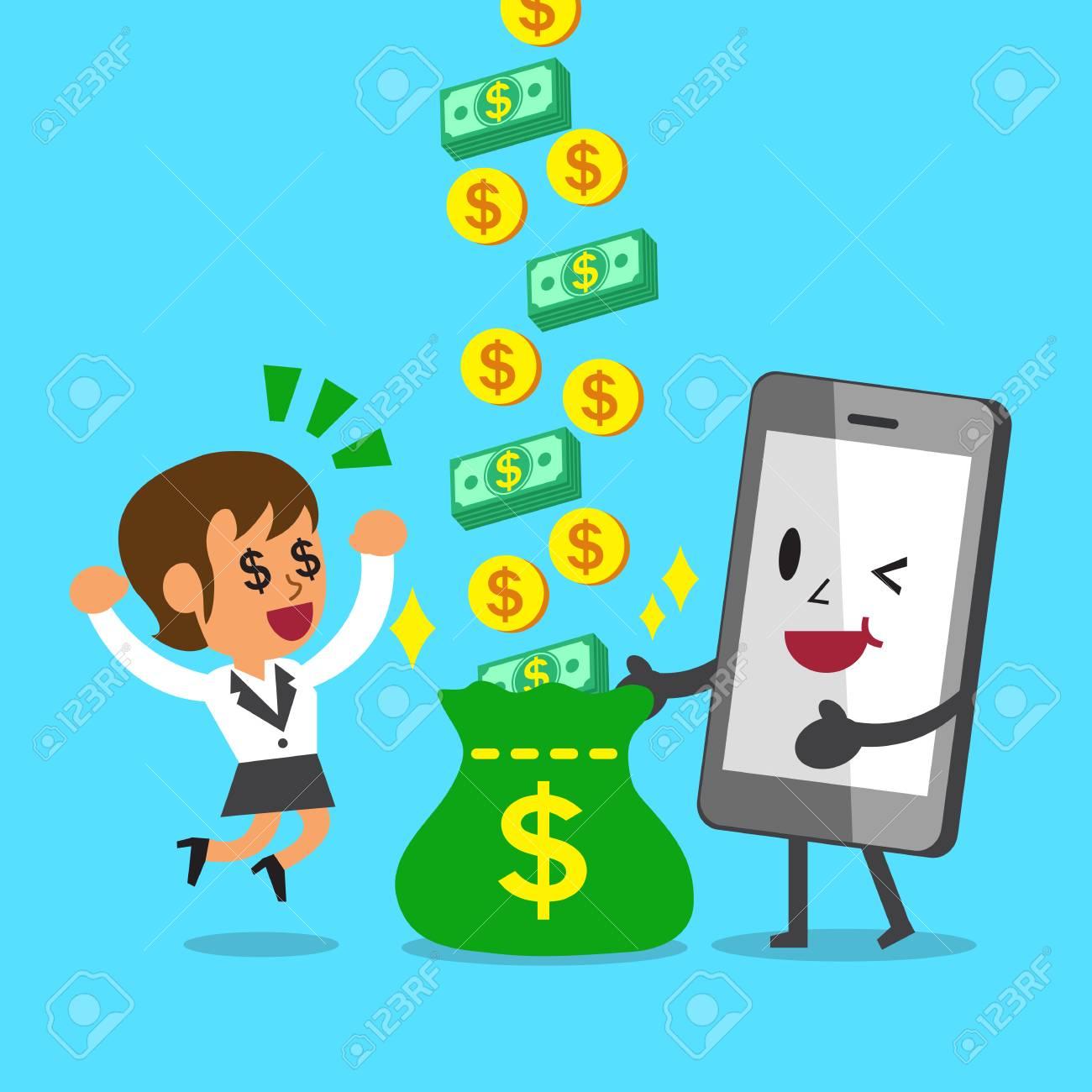Business Concept Cartoon Smartphone Help Businesswoman To Earn ...