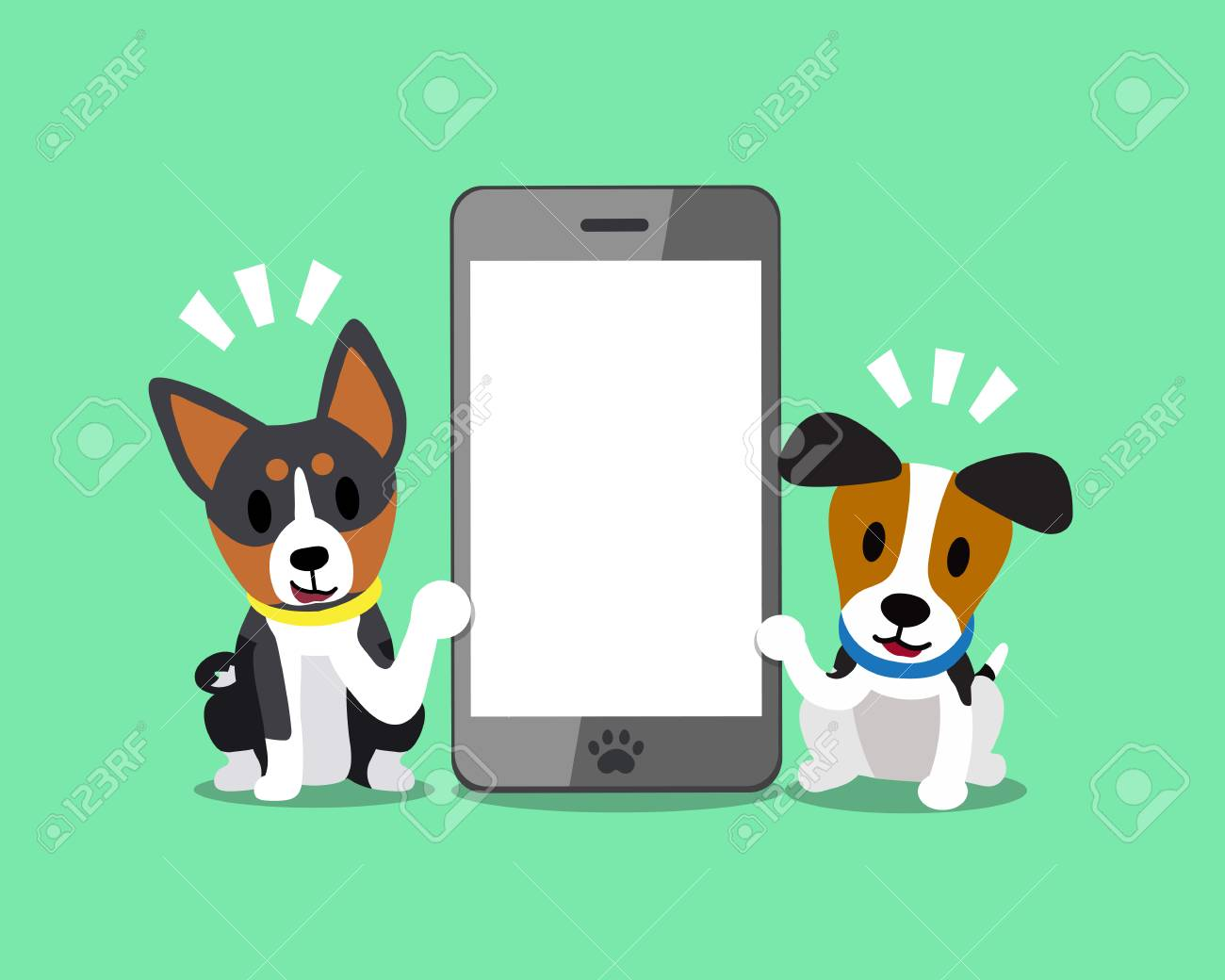Cartoon character jack russell terrier dog and basenji dog with