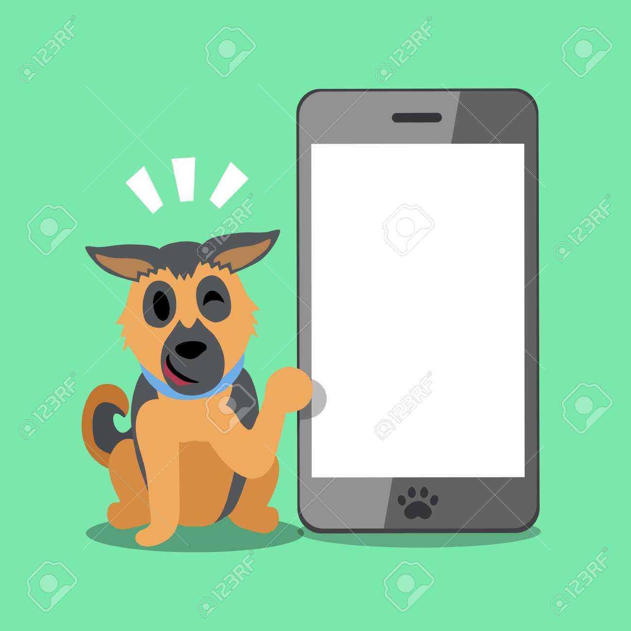 Cartoon Character German Shepherd Dog And Big Smartphone Royalty