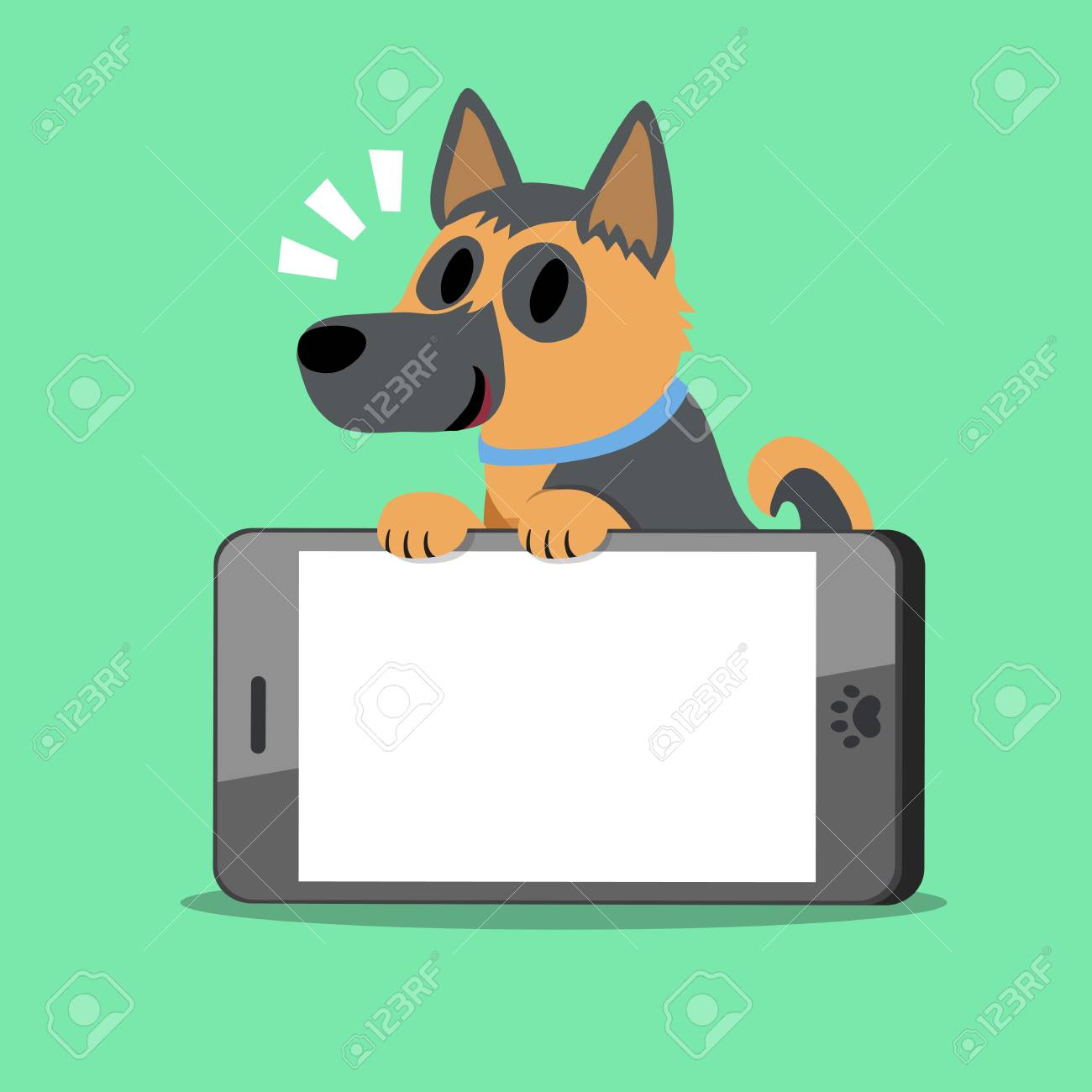 Cartoon Character German Shepherd Dog And Smartphone Royalty Free