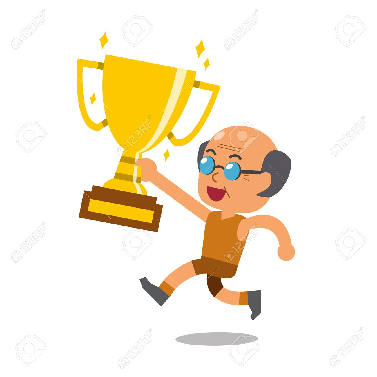 Vector Cartoon Sport Senior Man Holding Big Gold Trophy Cup Award