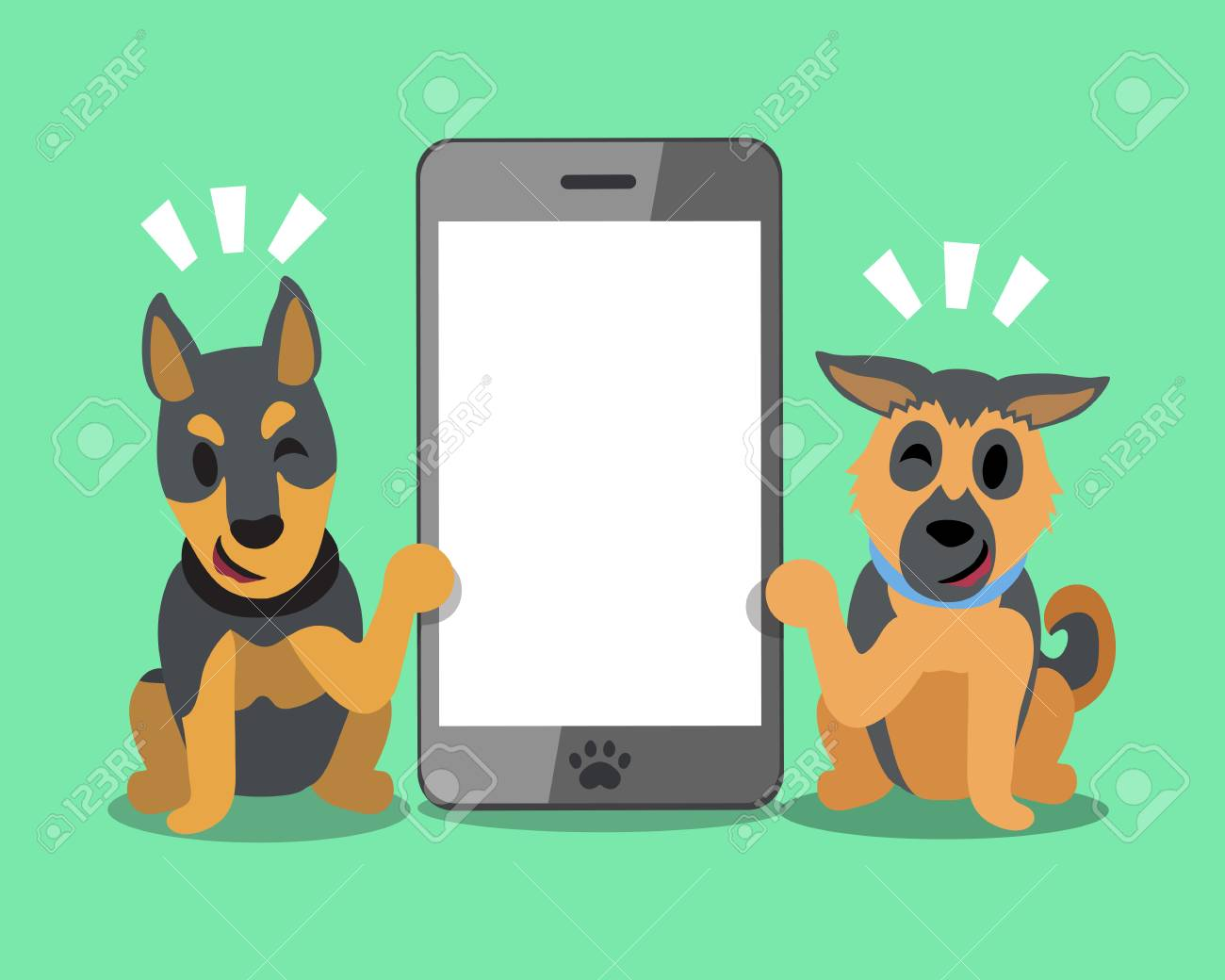 Cartoon Character German Shepherd And Doberman Dog With Smartphone