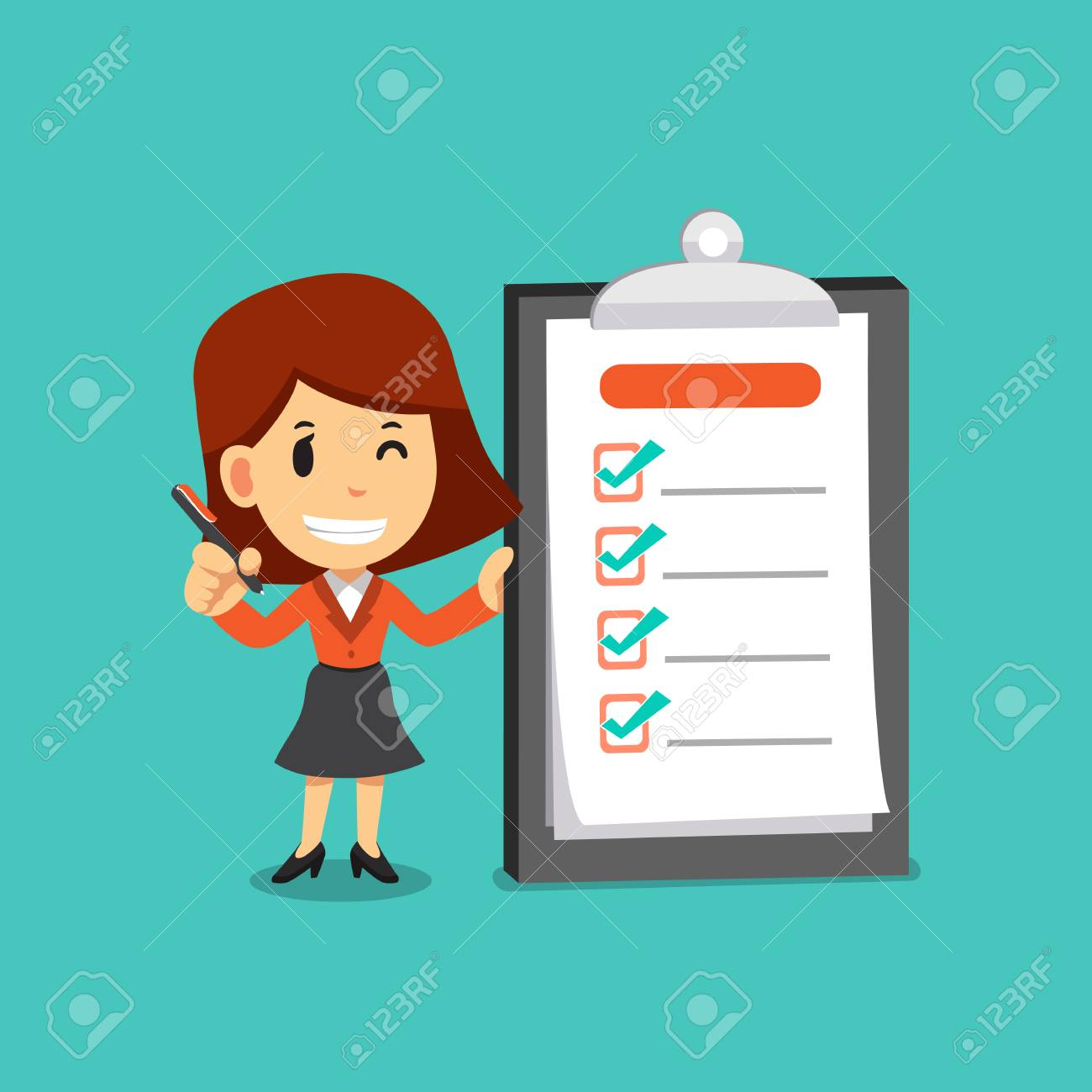 Vector cartoon businesswoman holding a pen and completed checklist on board - 105338144
