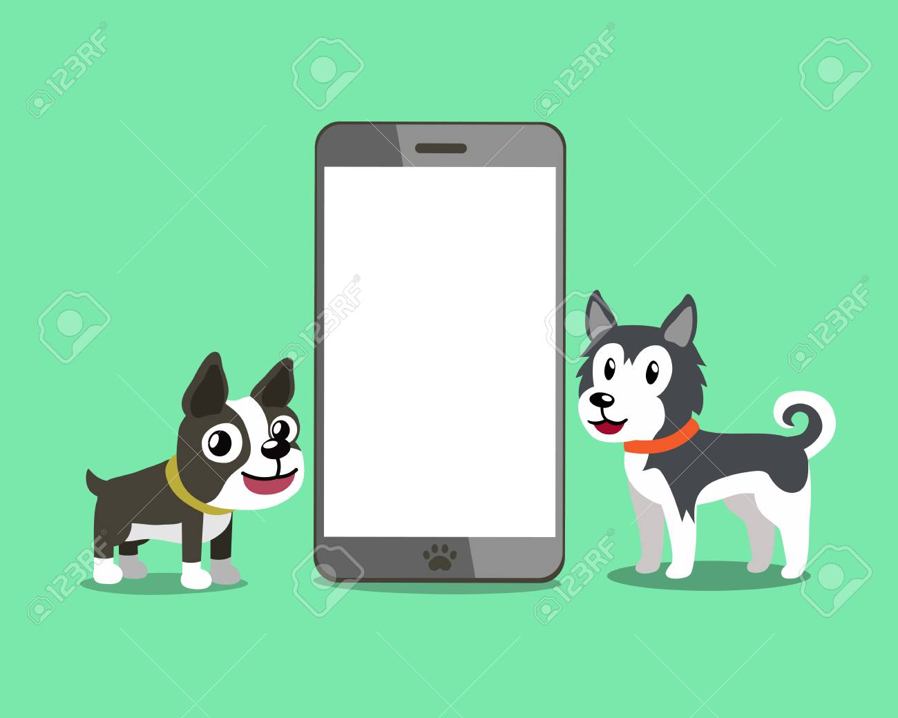 Vector Cartoon Character Boston Terrier Dog Poses Stock Illustration -  Download Image Now - iStock