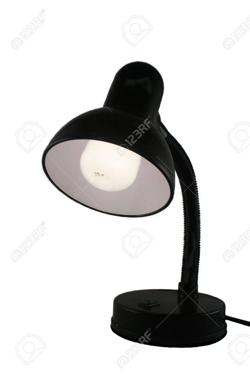 Black Metal Desk Lamp With The Light Bulb On Photo Picture – Desk Lamp Light Bulb