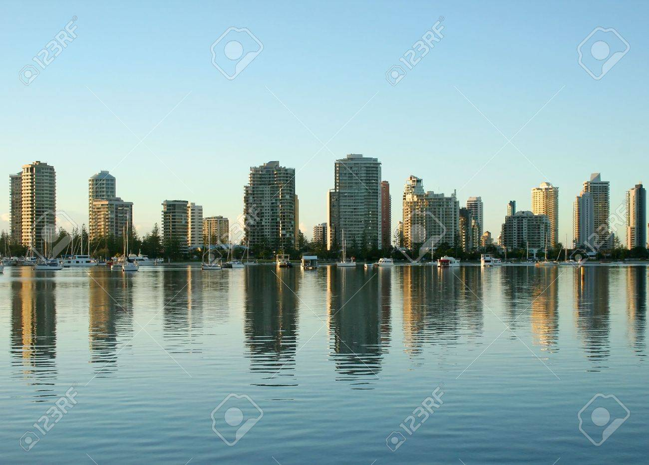 Main Beach Gold Coast Australia at sunrise seen North from Southport. Stock Photo - 3005794