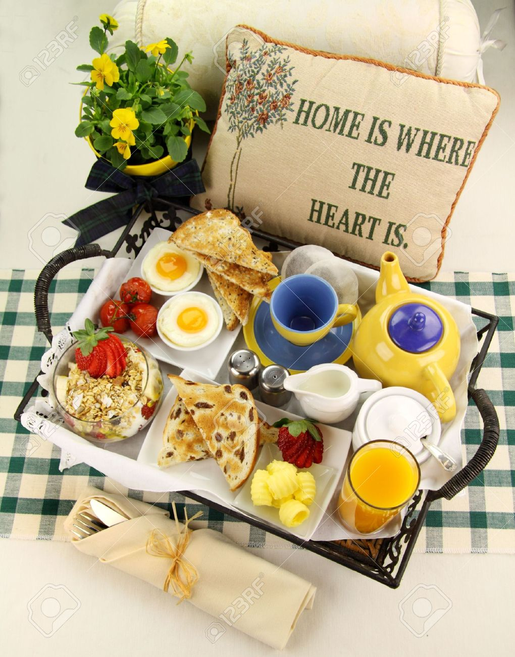 Delicious hearty breakfast tray prepared for a lazy Sunday morning. - 5067750