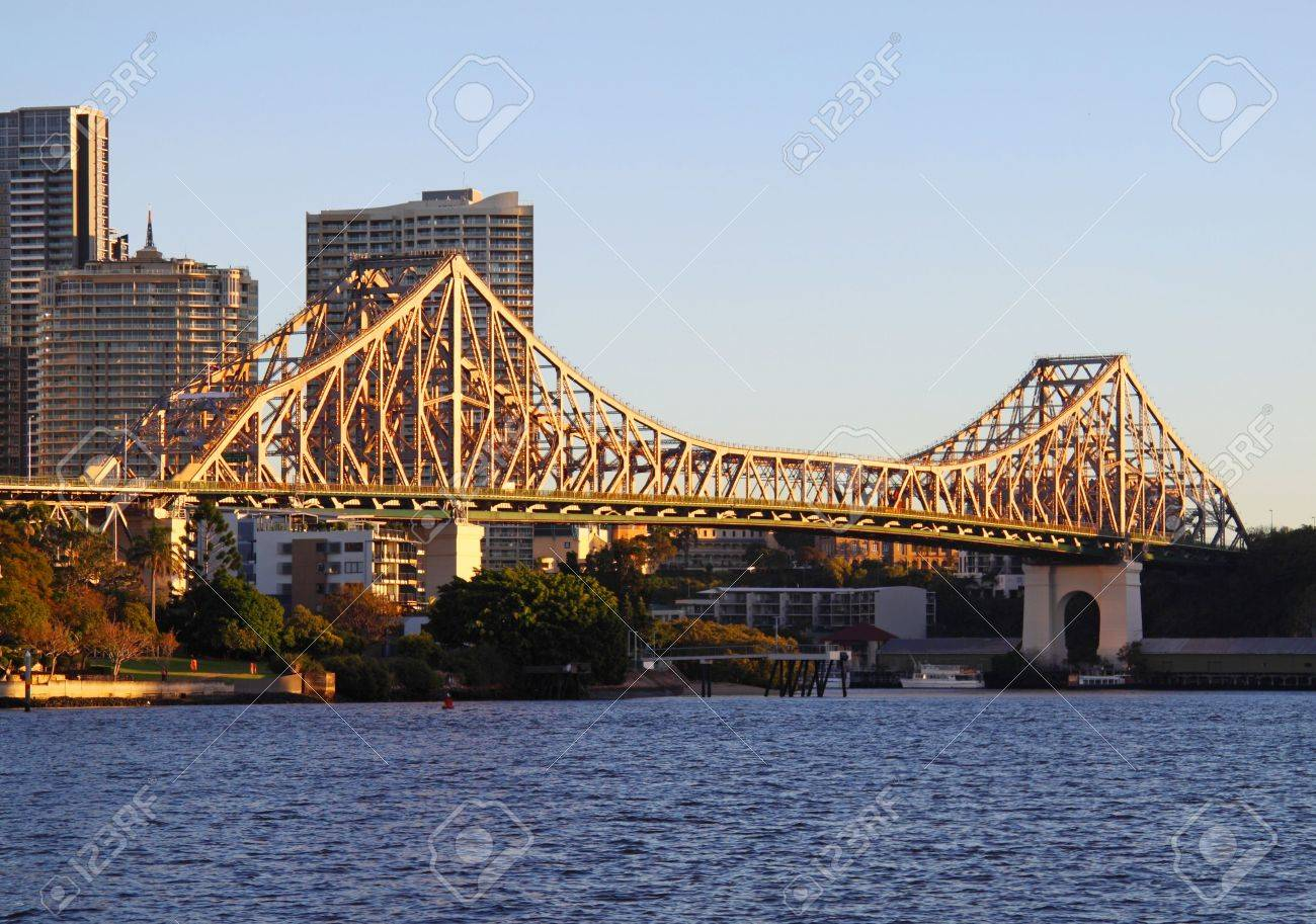 The iconic Story Bridge spanning the Brisbane River in Brisbane Australia at sunrise. - 5067749