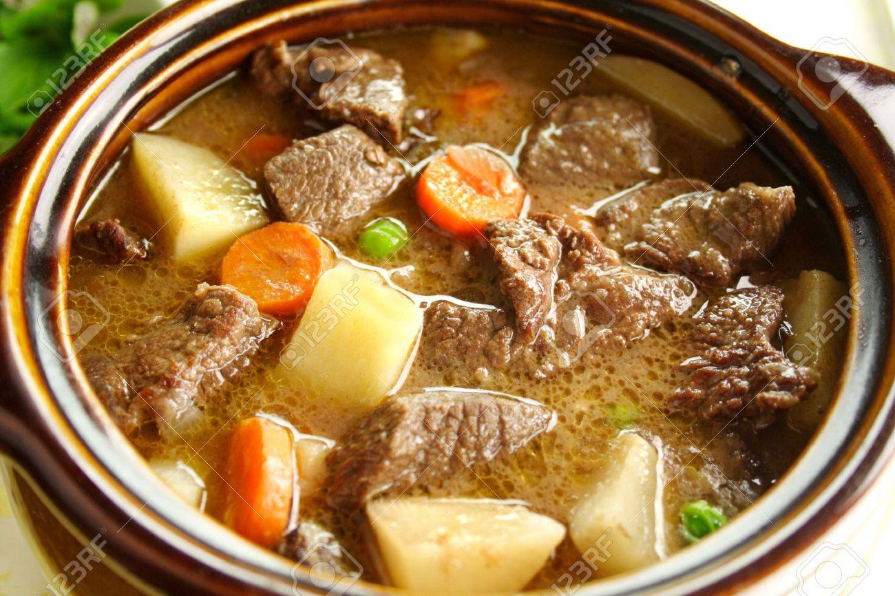 Rich Hearty Beef Stew Simmering And Ready To Serve Stock Photo 5099249